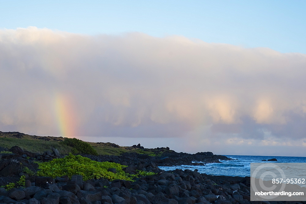 Rainbow above Halape Beach after a storm in Hawaii Volcanoes National Park on the Big Island