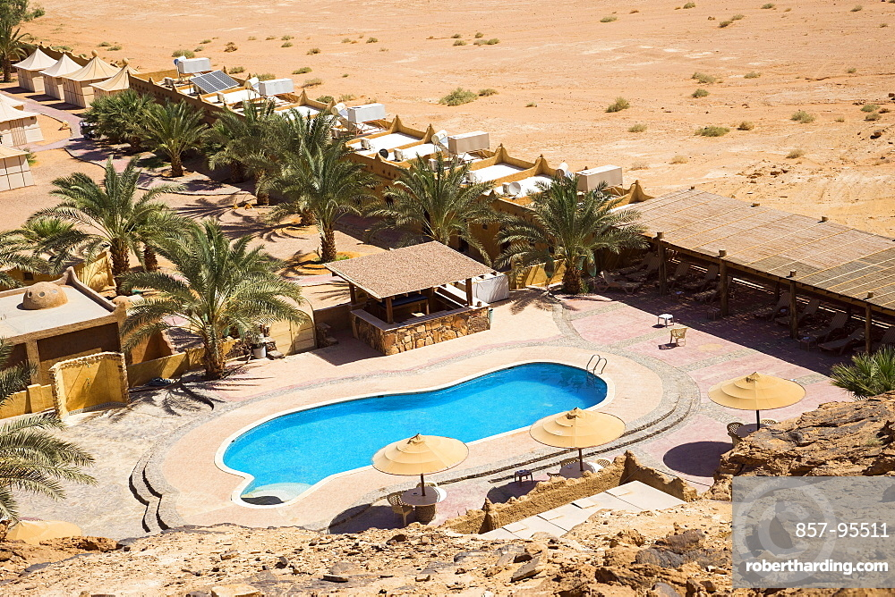 Aerial view of pool at Bait Ali Camp, a traditional Bedouin Arabic camp in Wadi Rum Village, Aqaba Governorate, Jordan