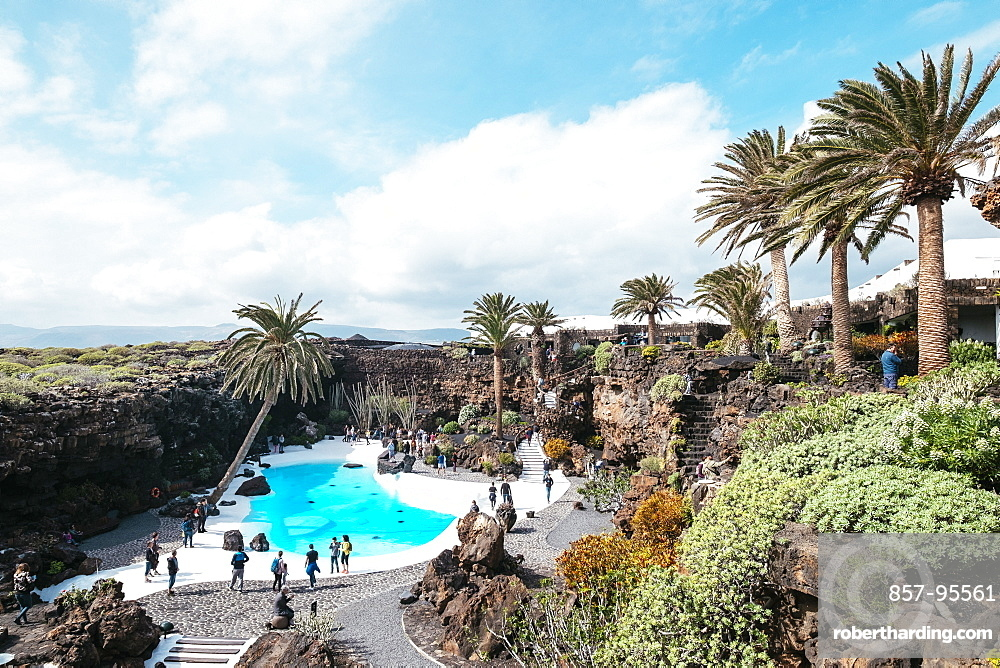 Landscape with rocky mountains and pool with turquoise water at Jameos del Agua, Lanzarote, Spain