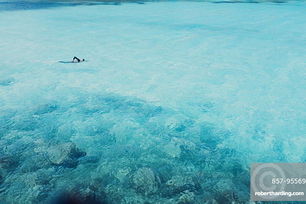 Man swims in open waters, Mallorca, Balearic Islands, Spain