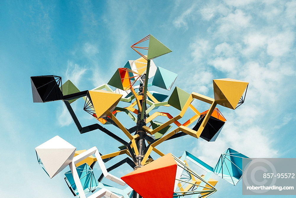 Low angle view of colorful sculpture at Fundacion Cesar Manrique against sky, Lanzarote, Canary Islands, Spain