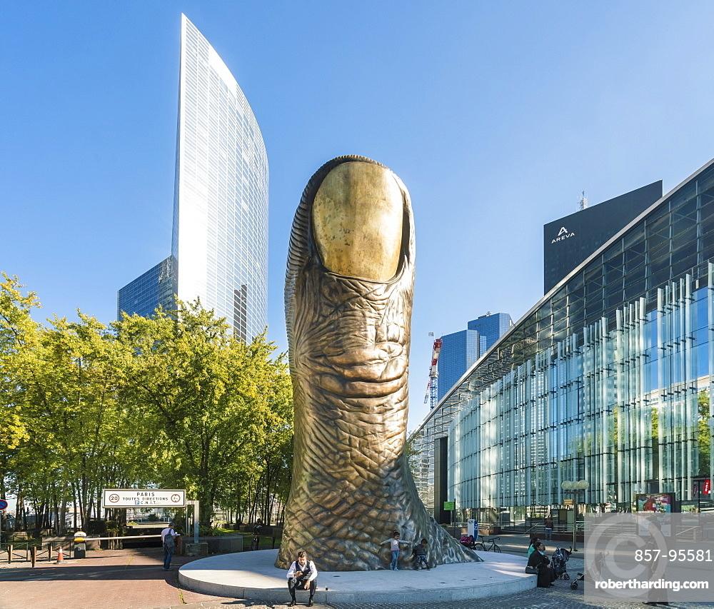 Cityscape of Paris with Le Pouce, thumb sculpture, La Defense, Paris, France