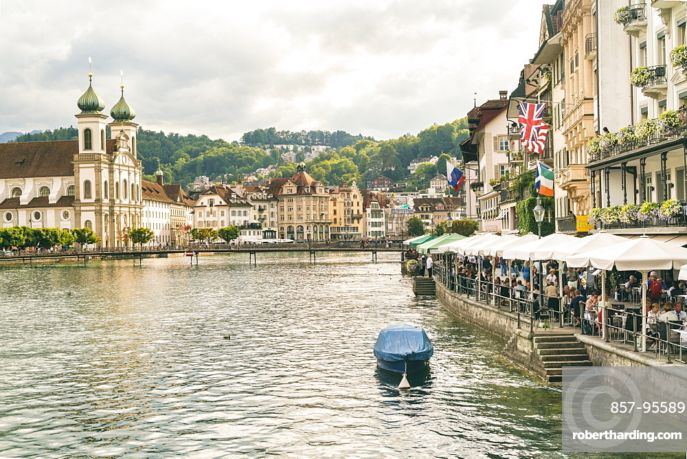 Cityscape with Jesuiten Church and river, Lucerne, Switzerland