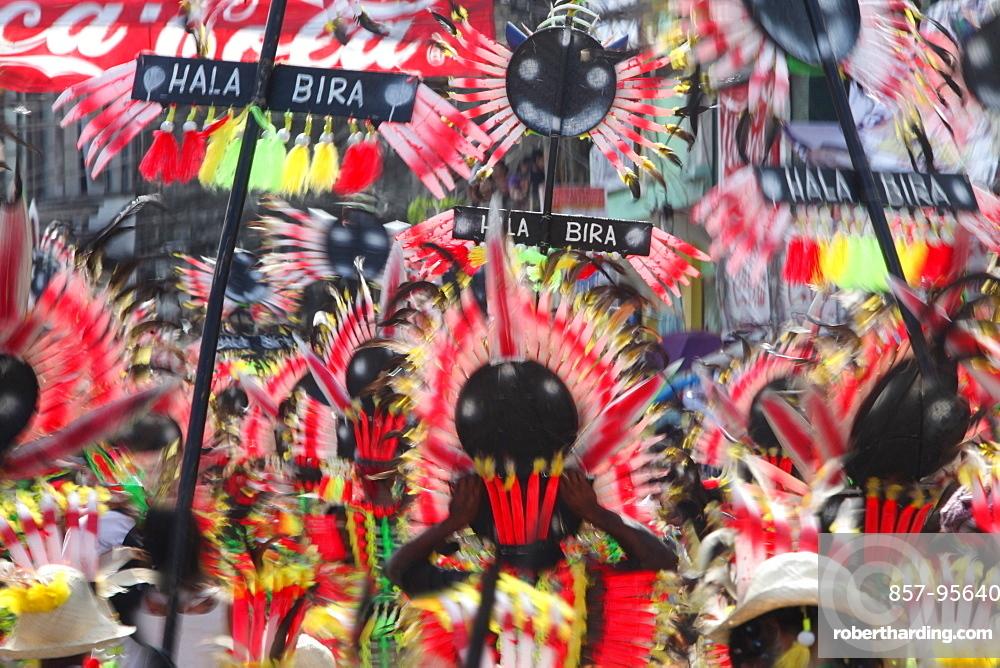 Large group of people walking in colorful parade during Ati Atihan Festival, Kalibo, Aklan, Panay Island, Philippines