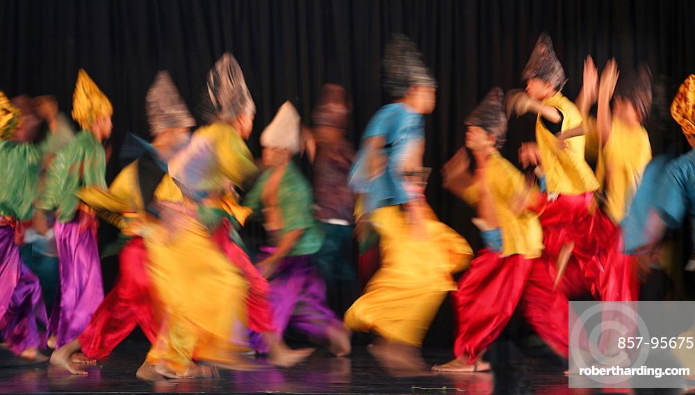 Large group of Muslim dancers on stage, Villa Escudero, Manila, Laguna, Luzon Island, Philippines