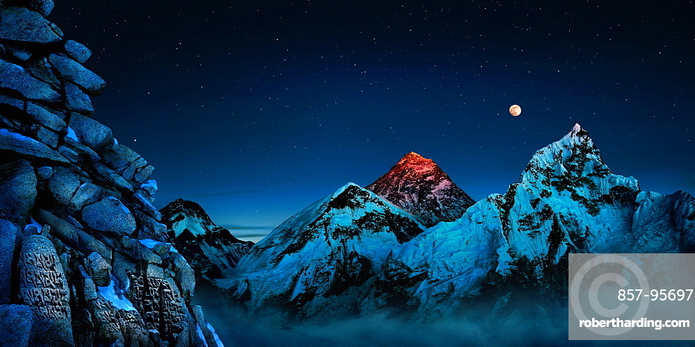 Landscape with full moon over Mount Everest, prayer wall and Mount Nuptse, Kala Pattar, Khumbu, Nepal