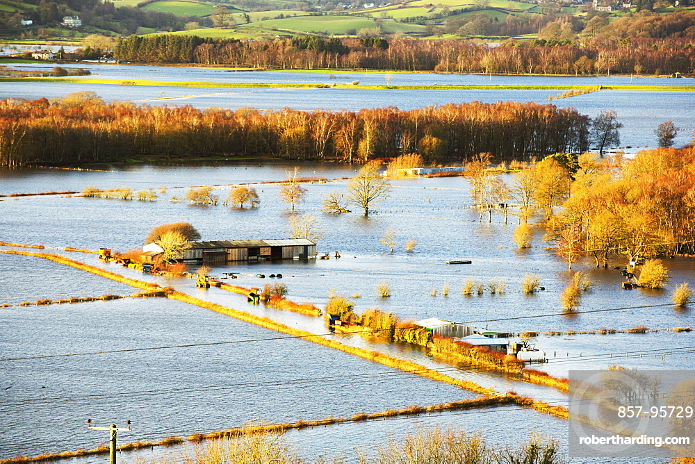 On Saturday 5th December 2015, Storm Desmond crashed into the UK, producing the UK''s highest ever 24 hour rainfall total at 341.4mm. It flooded the Lyth Valley, drowning many farms and houses. Several periods of subsequent heavy rain have kept the Lyth Valley inundated, with no sign of respite. Photo taken on Thursday 10th December 2015.'