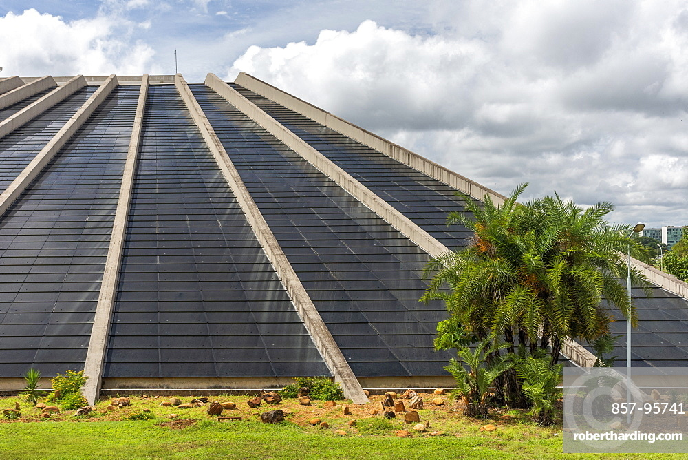 Modern style building of Claudio Santoro National Theater, Brasilia, Brazil