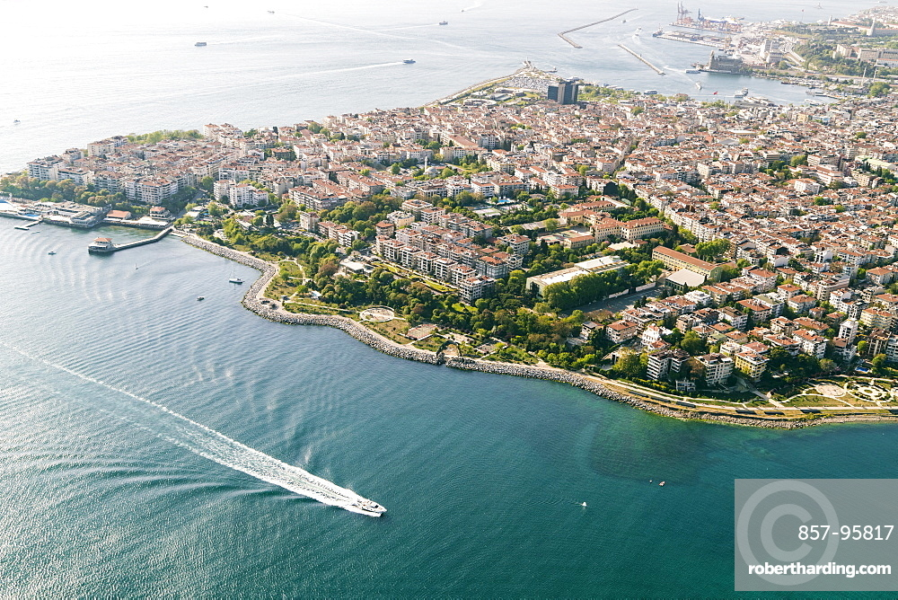 Aerial view of seaside built-up area and harbor, Istanbul, Turkey