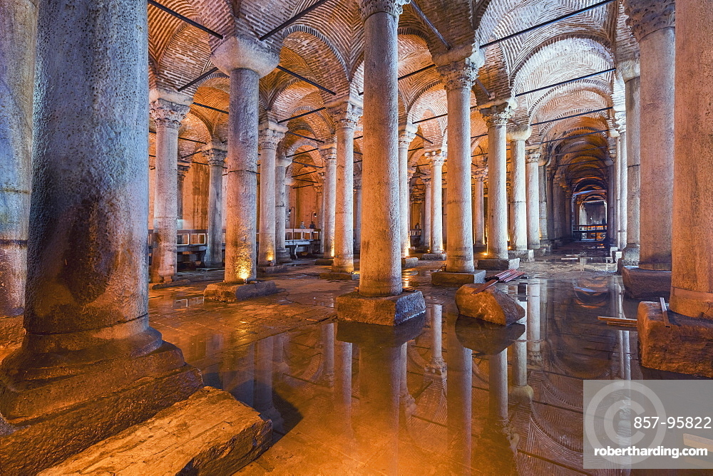 Basilica Cistern is a huge underground Roman water source held up with 336 marble columns, on some of them Medusa heads and decorations covering 9, 800 sq. meters, Istanbul, Turkey