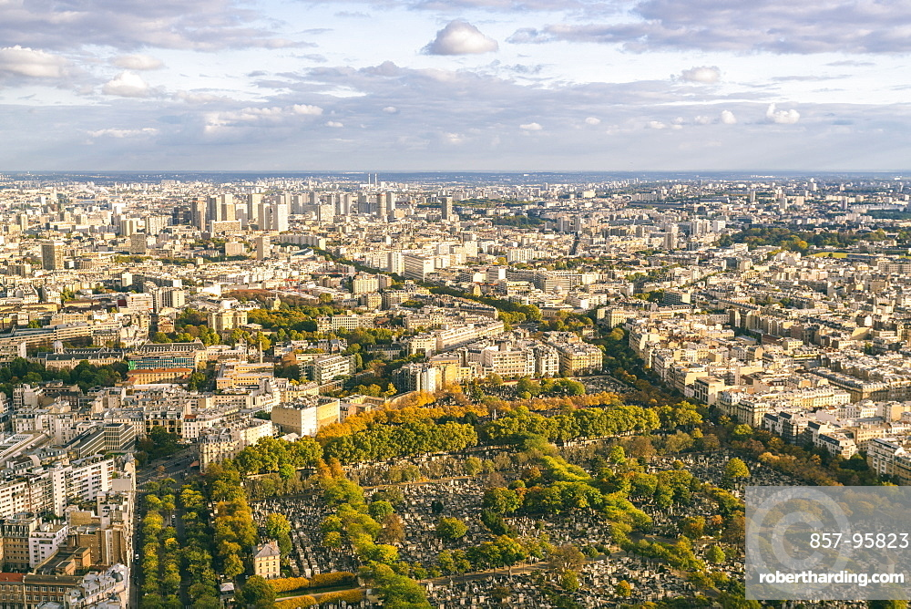 View of Paris from Montparnasse Tower with Montparnasse Cemetery in the foreground and the 13th and 14th Arrondissement in the background, France