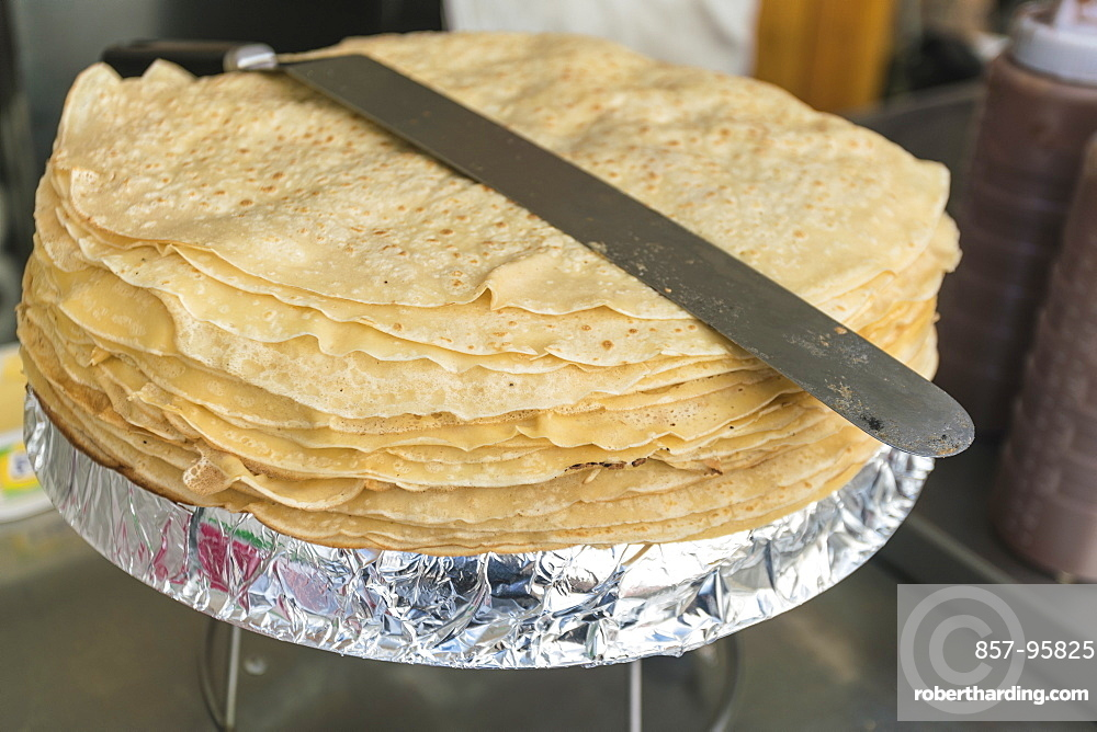 French pancakes or crepes in a crepes stand at food market by the Sacre Coeur, Paris, France