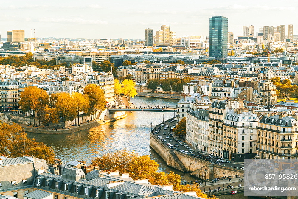 View of Paris from Saint Jacques Tower with Ile Saint-Louis and Ile de la Cite in the foreground, France