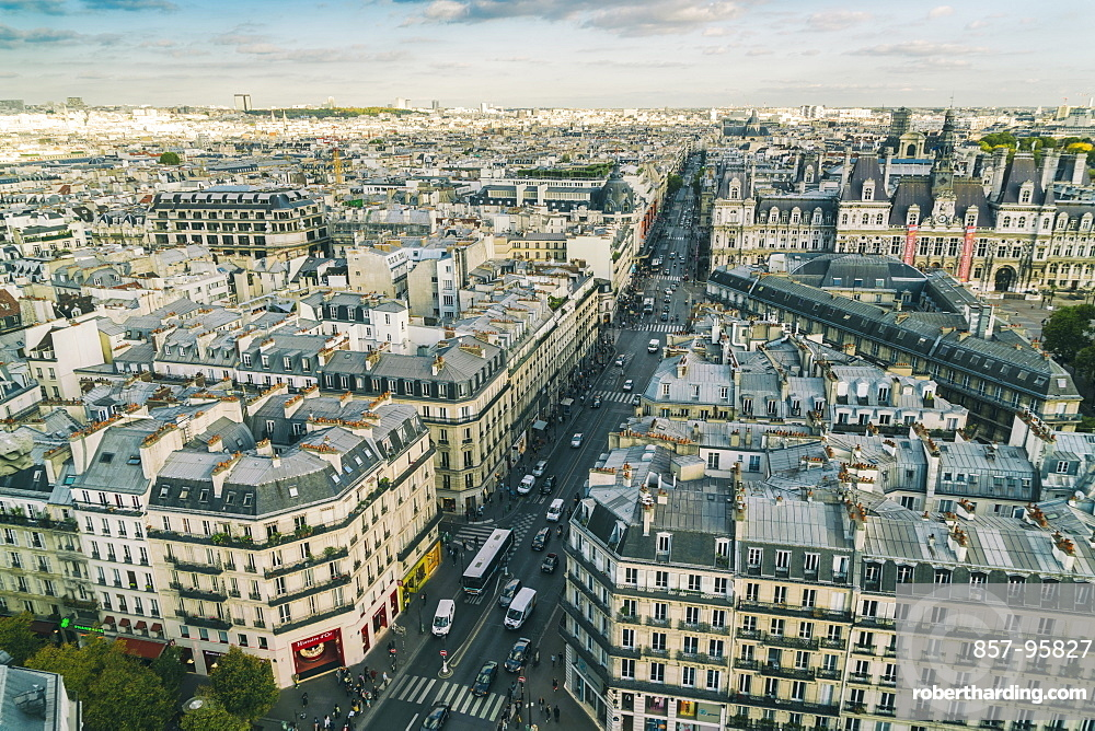 Elevated view of city of Paris from Saint Jacques tower, France