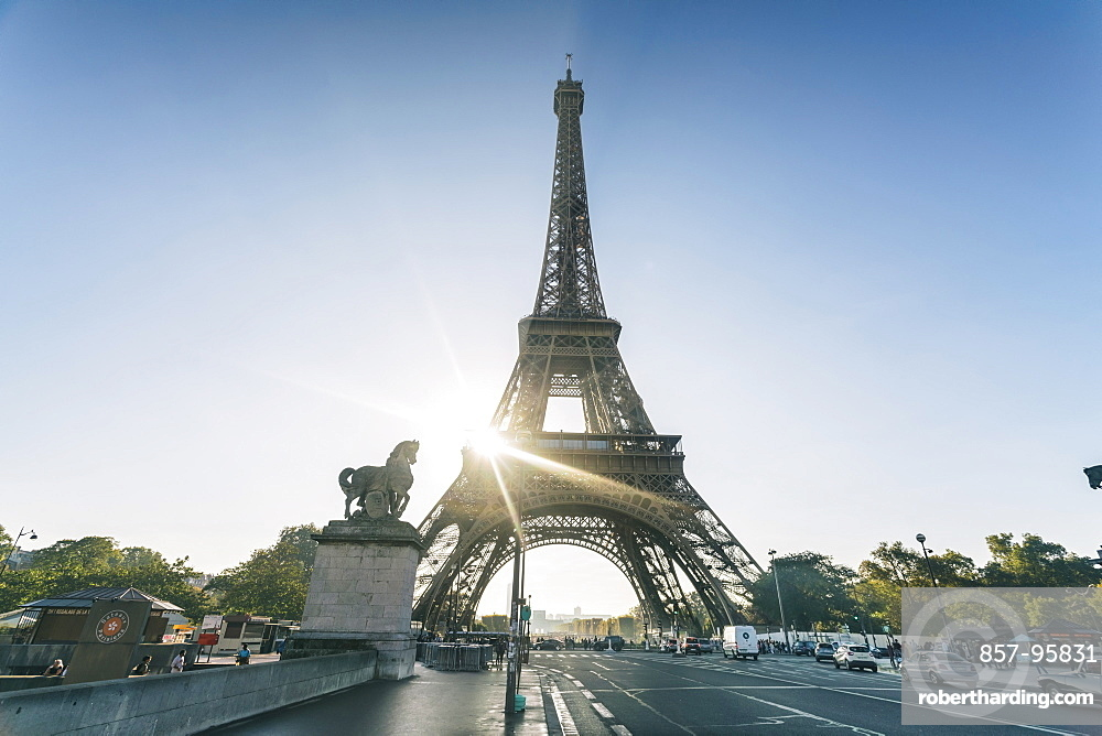 View of the famous building of Eiffel Tower against clear sky, Paris, France