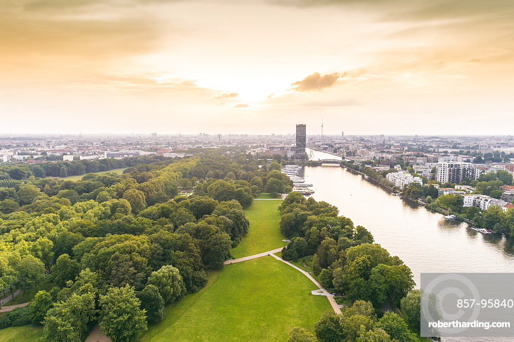 Aerial view of Berlin Treptower Park with city skyline on background, Berlin, Germany