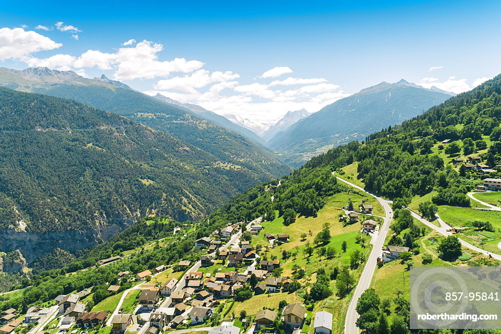 Aerial view of Swiss village close to Sion at Italian part of Switzerland, Sion, Valais, Switzerland