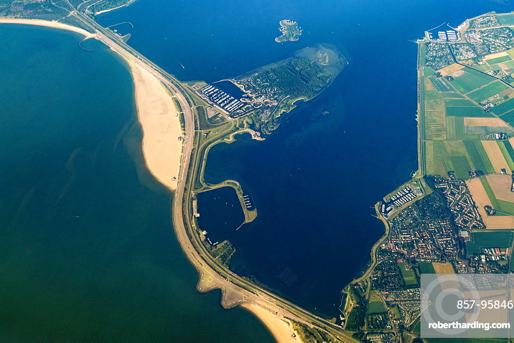 Aerial view of Wadden Sea, city and road across sea, Den Helder, Netherlands