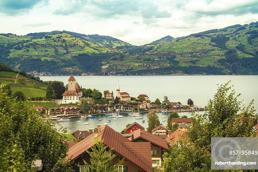 Landscape with Thun Lake and Spiez village, Bern, Switzerland