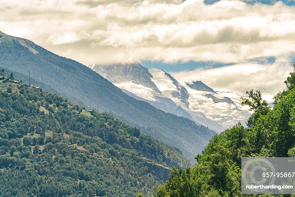 Viewof mountains aroundZermattfrom cable car at cloudy day, Zermatt, Valais, Switzerland