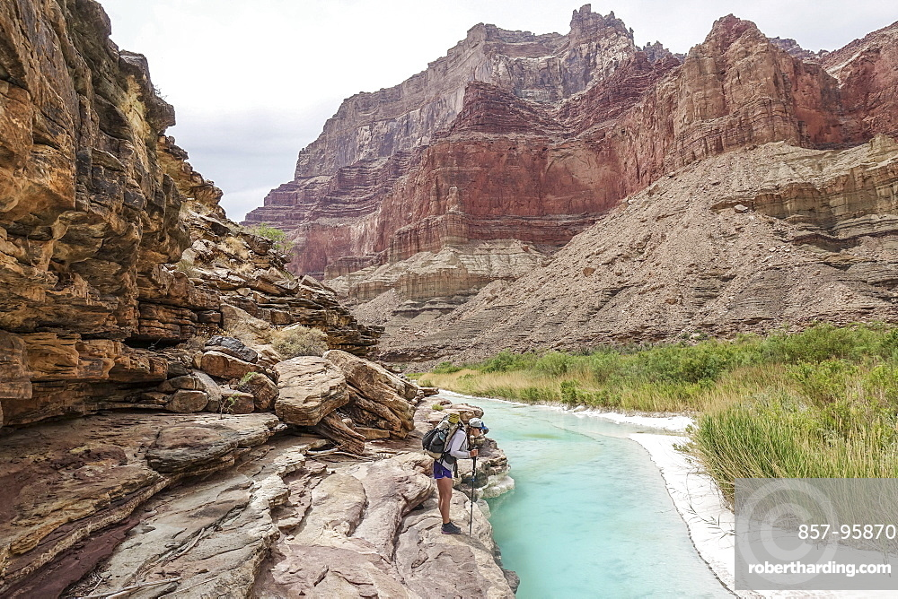 Landscape with young woman standing on rock formation and contemplating turquoise water of Little Colorado River near its confluence with Colorado deep down in Grand Canyon, Grand Canyon, Arizona, USA