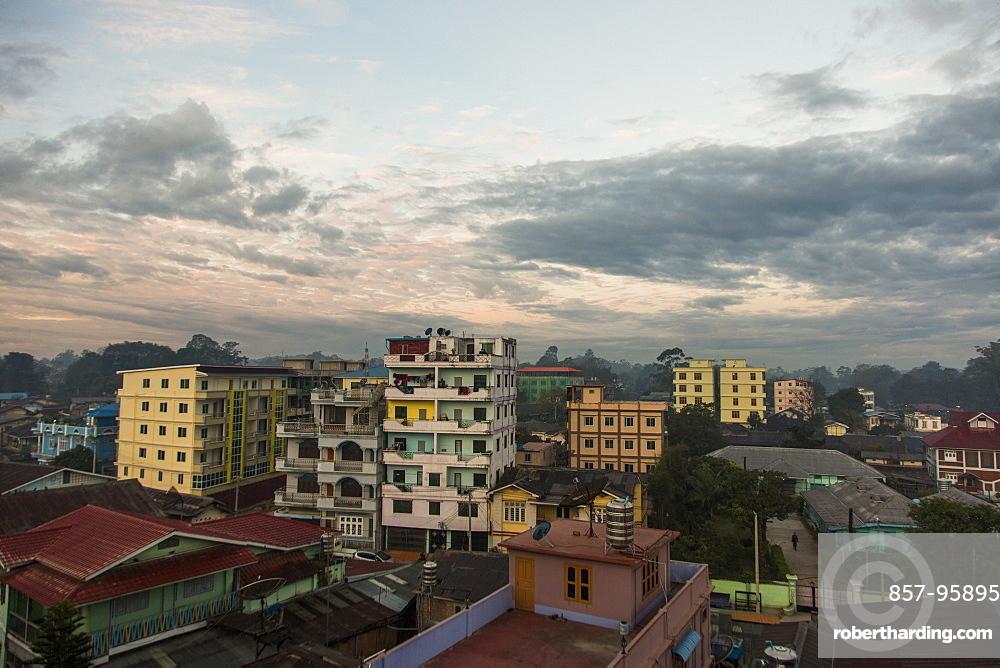 Cloudy sky over city houses, Myanmar, Shan, Myanmar