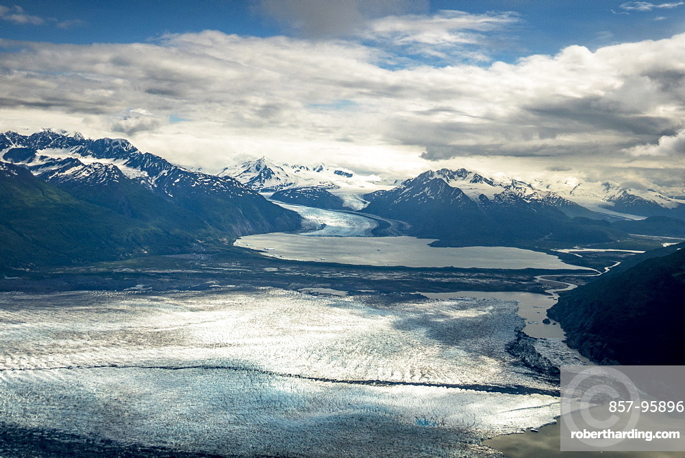 Majestic aerial scenery of Knik Glacier and Chugach Mountains, Palmer, Alaska, USA