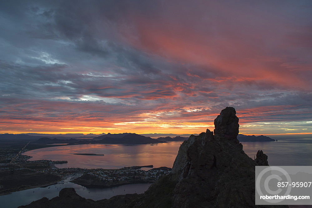 Sunrise view of San Carlos bay from Tetakawi peak in Sonora, Mexico