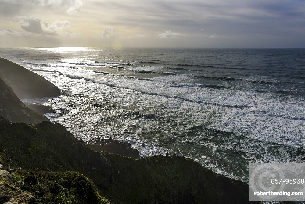 Seascape with cliffs and waves, Coastal Highway, Oregon, USA