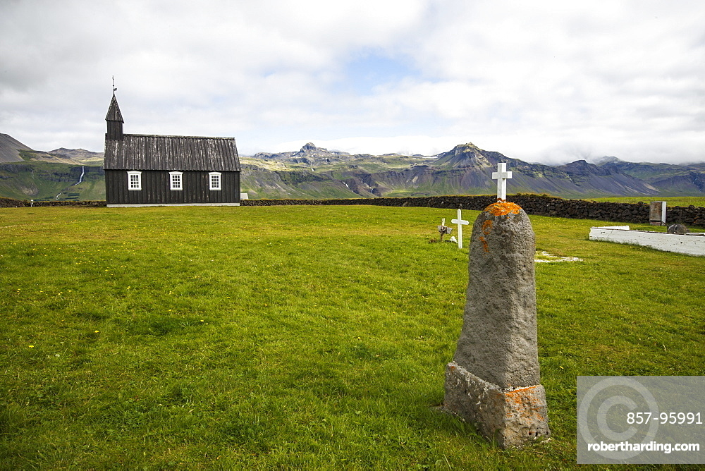The Budakirkja, commonly known as Iceland's Black Church, is a landmark in the town of Budir on the Snaeffelsnes Peninsula, Iceland