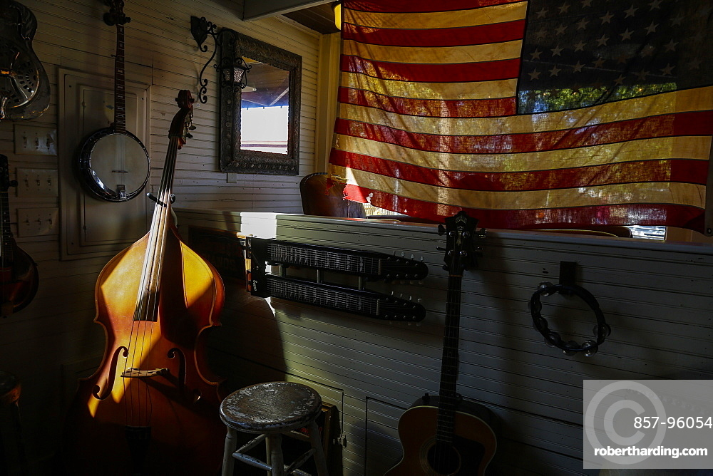 View of stage in bar with musical instruments in Nashville, Tennessee, USA