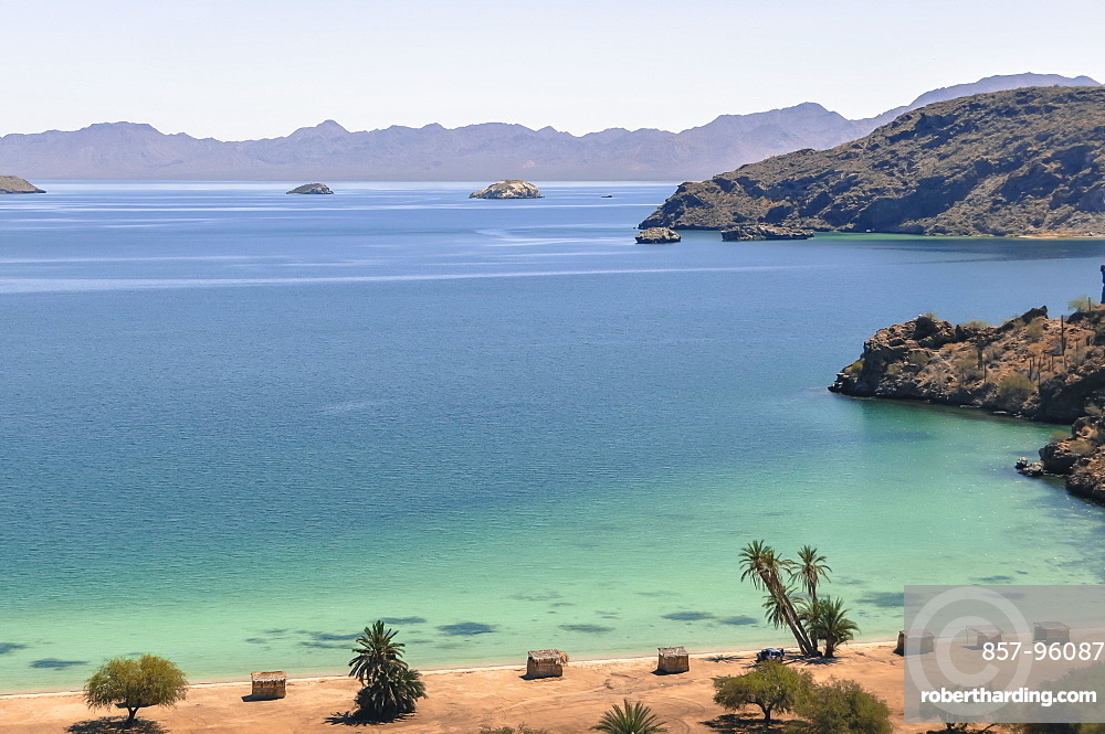Scenic view of beach and sea underclearblue sky, Mulege, BajaCaliforniaSur, Mexico