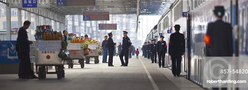 Train Platform in Urumqi, Xinjiang, China.