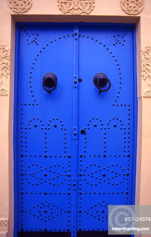 Traditional doors in Sidi Bou Said village, North Africa, Tunisia.