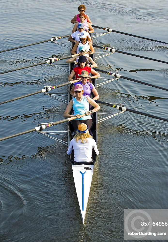 Members of the Saugatuck Rowing Club in Westport, Connecticut show how they can coordinate their rowing efforts to drive their scull upriver on a sunny June morning. The coxswain seated in the stern of the boat helps the team time their oar strokes and gives them words of encouragement.