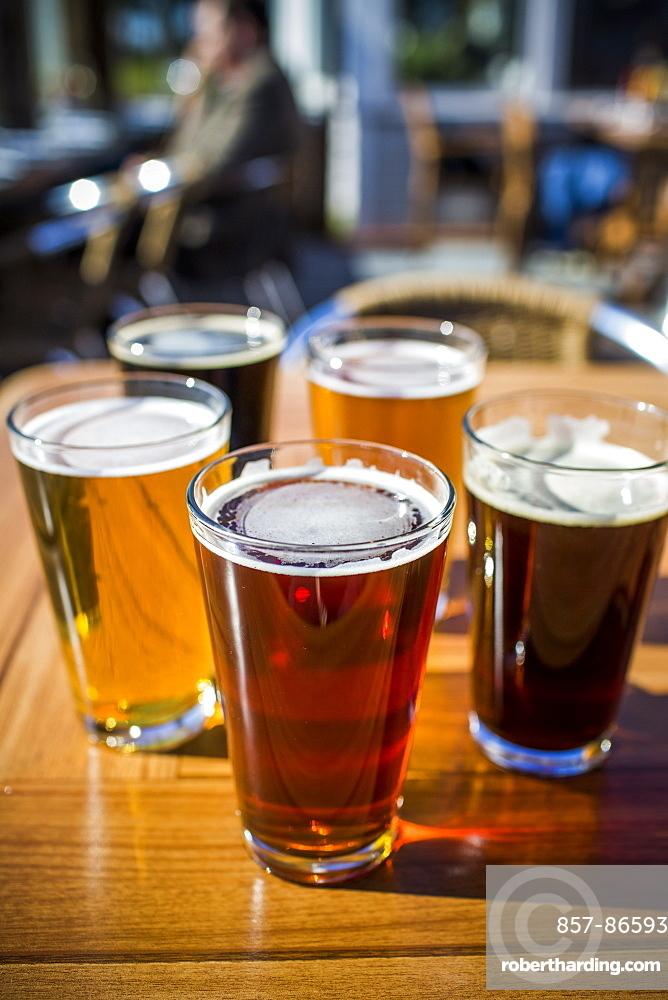 A variety of beers at Half Moon Bay Brewing Company in Half Moon Bay, California on a sunny day, Pescadero, California, USA