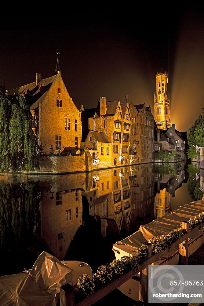 This view, taken from the Rozenhoedkaai (street and walkway), is considered the most photographed spot in Bruges.