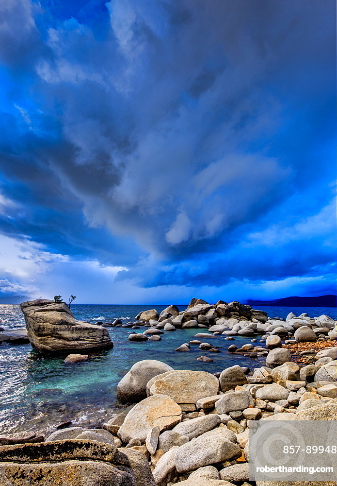 Stormy sunset over Lake Tahoe, Nevada