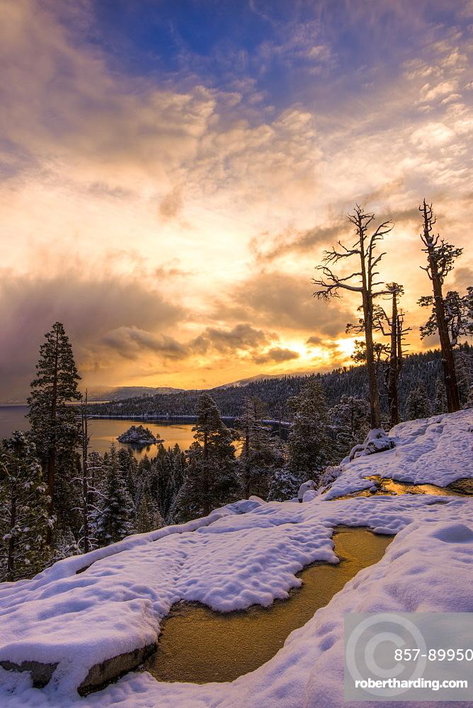 Snowy sunrise over Emerald Bay, Lake Tahoe