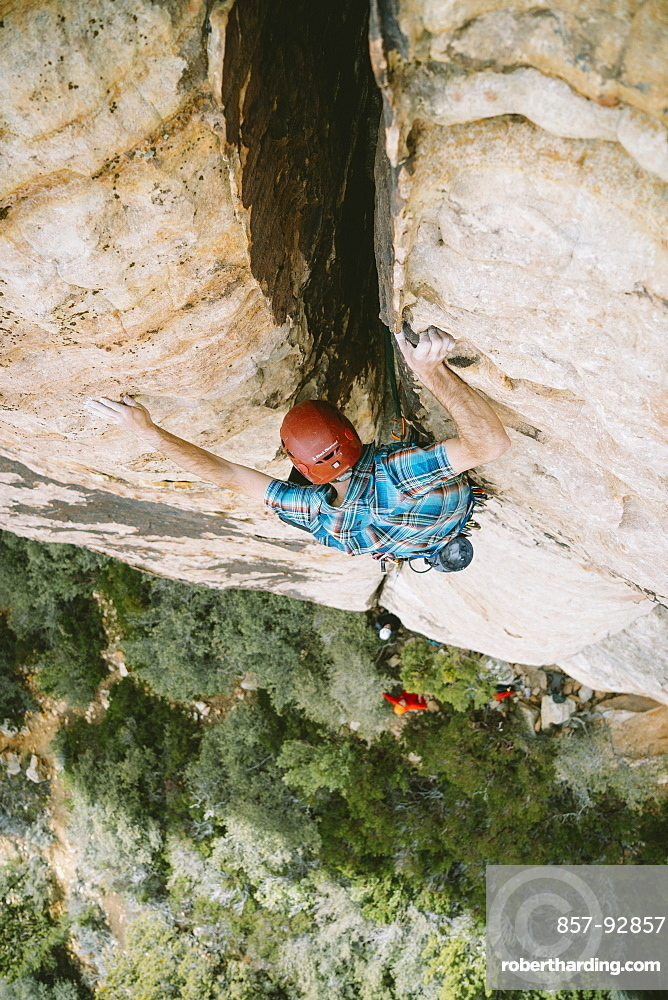 """A climber leading """"Revoked"""" (5.5) in Red Rock Canyon, Nevada"""