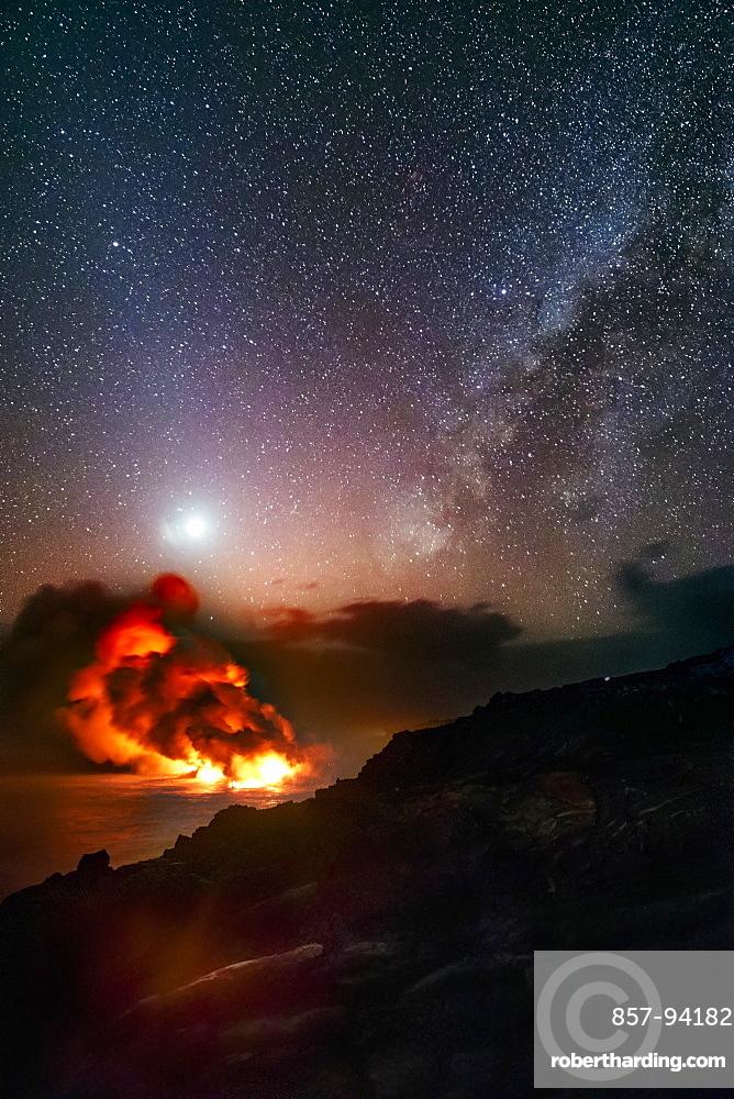 Lava from Kilauea Volcano pouring into ocean atKamokuna