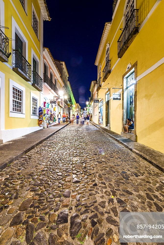 Old street in Pelourinho at night, Salvador, Bahia, Brazil