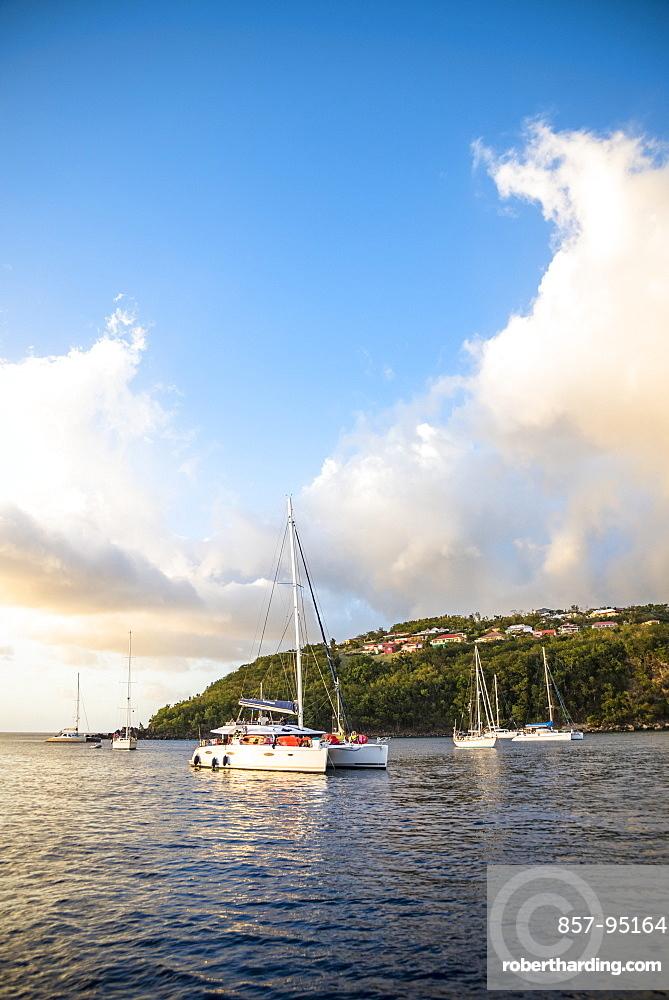 Scenic view of coastline with anchored sailboats, Bouillante, Basse Terre, Guadeloupe
