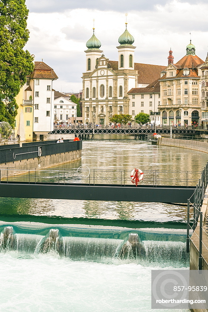 Cityscapewith Jesuiten Church and river,Lucerne, Switzerland