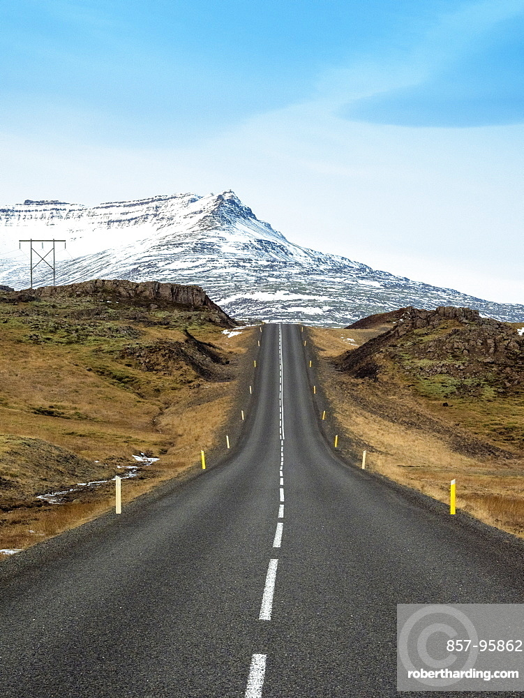 Route 1 (Ring Road) in southern of Iceland in front of snowcapped mountain, Road 1, South Iceland, Iceland