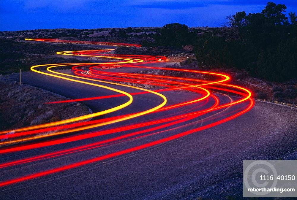 Streaking Car Lights On Road, Utah, Usa