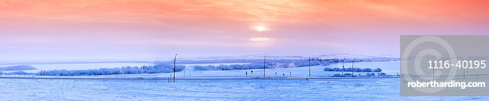 Winter Sunset On The Prairies, Alberta, Canada
