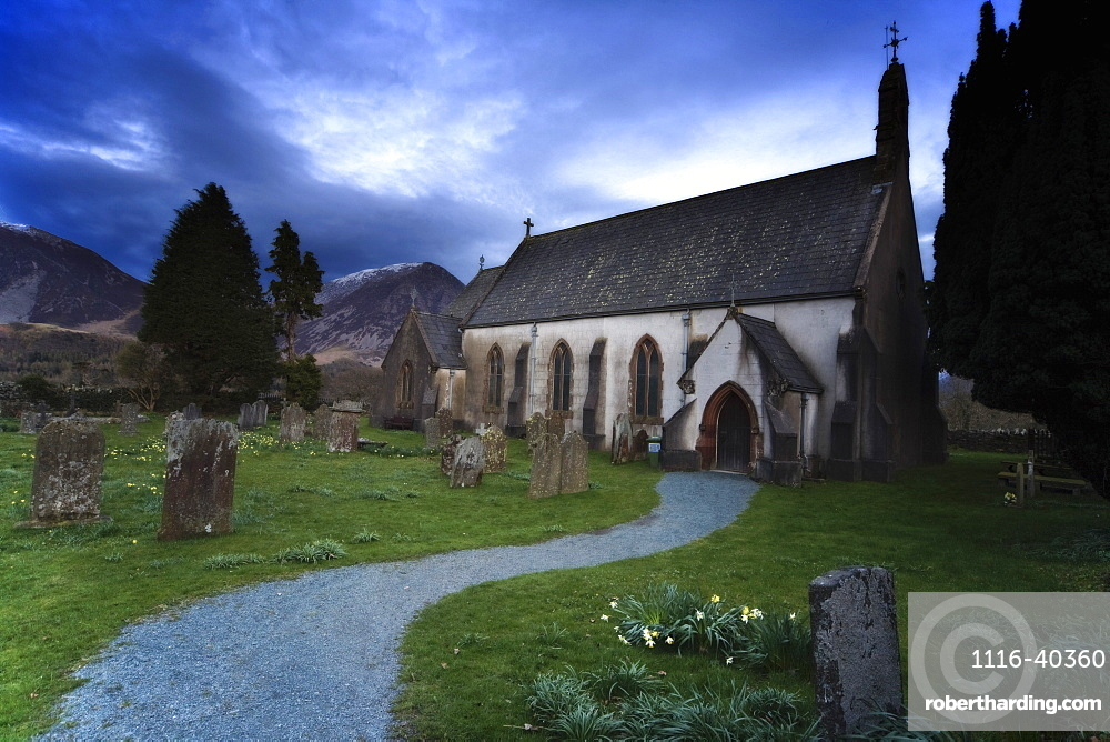 Church With Cemetery, Lake District, Cumbria, England
