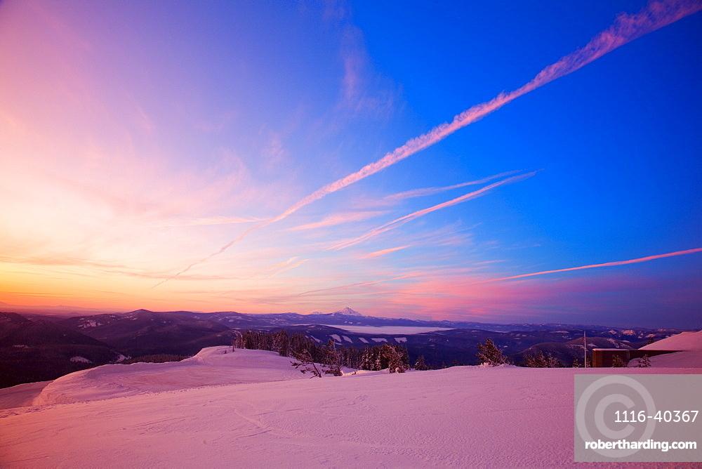 Sunset Over Winter Landscape, Mount Hood, Oregon, United States Of America
