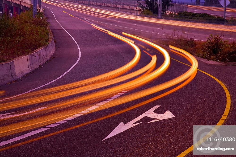 Blurred Headlights On Freeway